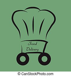 Food delivery - Isolated chef hat with text. Food delivery....