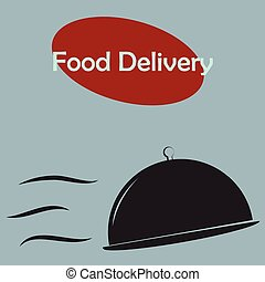 Food delivery - Isolated silhouette of dishes and text Food...