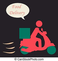 Food delivery - Isolated silhouette of a person on a...