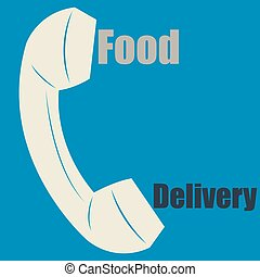Food delivery - Isolated silhouette of a phone and text on a...