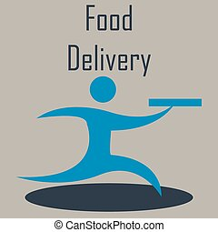 Food delivery - Isolated icon of a person and a box Food...