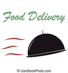 Food delivery - Isolated dishes and text Food delivery...