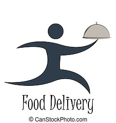 Food delivery - Isolated icon of a person and text Food...