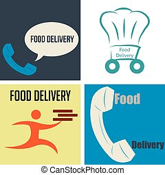 Food delivery - Set of icons with text and different...