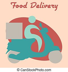 Food delivery - Colored background with an icon of a person...