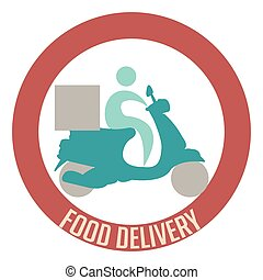 Food delivery - Isolated label with an icon of a person and...