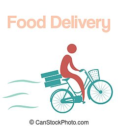 Food delivery - Isolated icon of a person on a bicycle with...