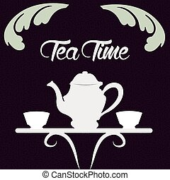 Tea time - Colored background with silhouettes for tea time....