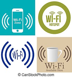 Wifi Hotspot - Set of colored backgrounds with text and...