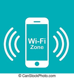 Wifi Hotspot - Colored background with a phone silhouette as...