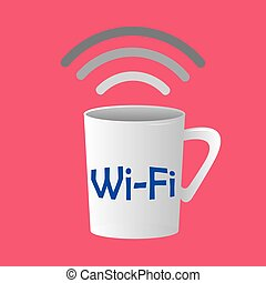 Wifi Hotspot - Colored background with an isolated coffee...