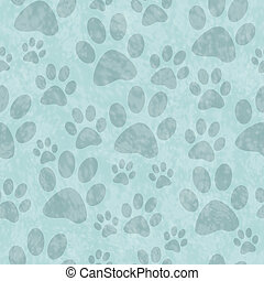 Blue Dog Paw Prints Tile Pattern Repeat Background that is...
