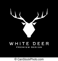 Deer head with antlers trendy style vector logo