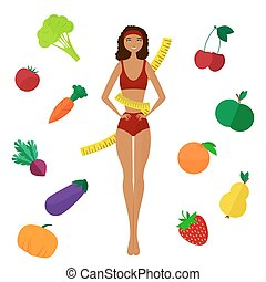 The slender dark-skinned and Slimming girl Diet Healthy life...