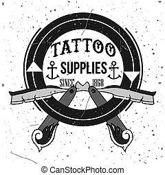 caseiro, tatuagem, T-shirt, desenho,