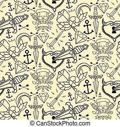 Tattoo seamless pattern with different hand drawn elements....
