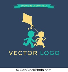Logo Children run and play with a kite, vector illustration...