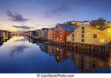Trondheim. - Image of norwegian city of Trondheim during...
