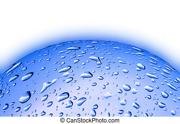Blue background with drop water - abstract blue color...
