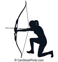 Female archer with bow and arrow - Silhouette of a female...