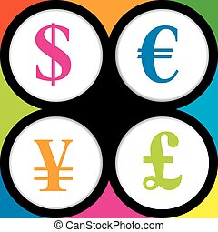 The currency signs of Dollar, Euro, Pound and Yen - Colored...
