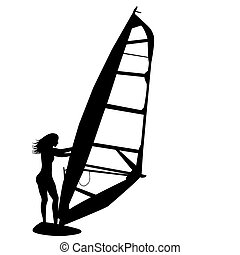 Woman windsurfing  - Silhouette of woman windsurfing