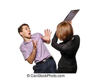 Business woman has an effort subordinate folder.