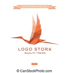 Bird the style polygon low poly flat vector trend logos