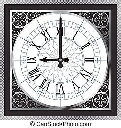 Luxury white gold metal clock with Roman numerals and...