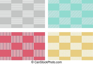 Set of modern checkered tablecloths patterns in japanese style