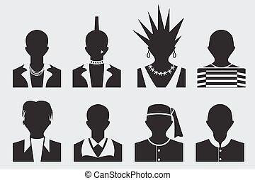 Hipster,punk, emo, rockstar and prisoner avatar profile...