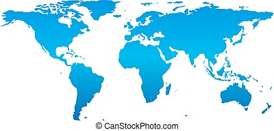 Detail world map, isolated on white background