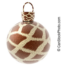 xmas ball with animal fur texture isolated on a white