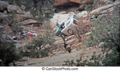 1971: Crashed Jeep automobile - Unique vintage 8mm film home...