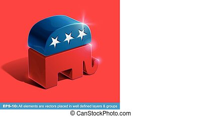 Republican Party 3D Sighn - Vector illustration of the sign...