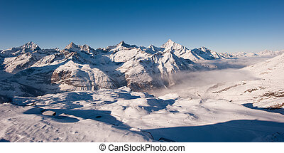 panorama from gornergrat in winter - Panorama from...