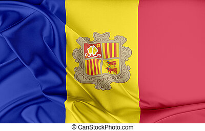 Andorra Flag. Flag with a beautiful glossy silk texture.