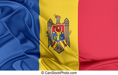 Moldova Flag. Flag with a beautiful glossy silk texture.