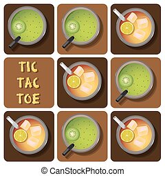 Tic-Tac-Toe of iced tea and kiwi juice - top view of iced...
