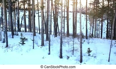 Beautiful winter landscape with snow covered trees and lift...