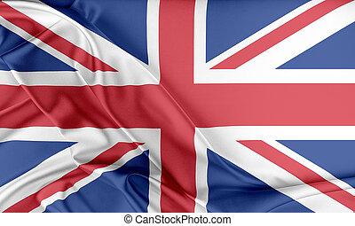 United Kingdom Flag. Flag with a beautiful glossy silk...