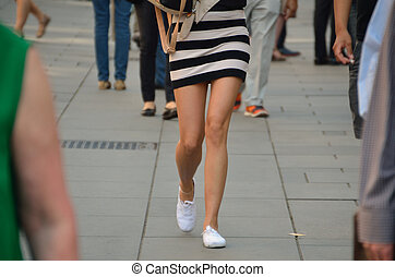 woman in striped short dress - young woman in striped short...