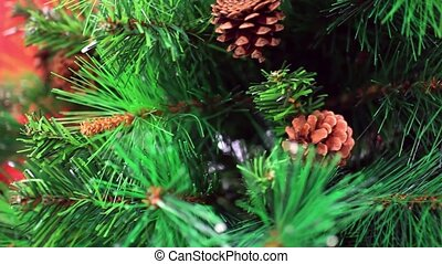 spruce cones on Christmas tree. 1920x1080