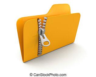 Folder with zipper