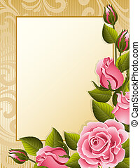 Roses background - Vector illustration - pink roses and...