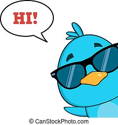 Cute Blue Bird With Sunglasses
