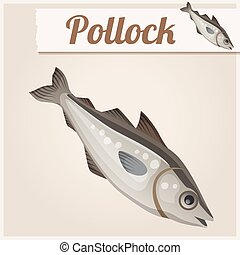 Fresh pollock fish. Detailed Vector Icon - Series of food...