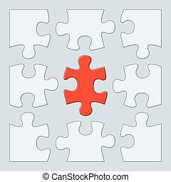 Nine puzzle pieces - 9 puzzle game pieces template. Vector...
