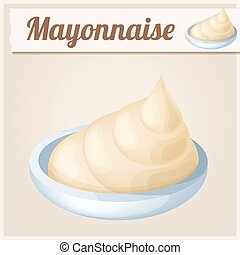Mayonnaise. Detailed Vector Icon. Series of food and drink...