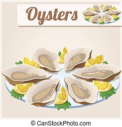Oysters. Detailed Vector Icon. Series of food and drink and...